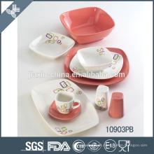 conjunto de jantar cerâmico inquebrável branco e rosa morno