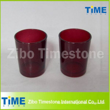 Red Glass Votive Candle Holders