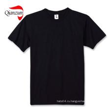 Хлопок Черные пустые футболки 100% хлопок Ткань