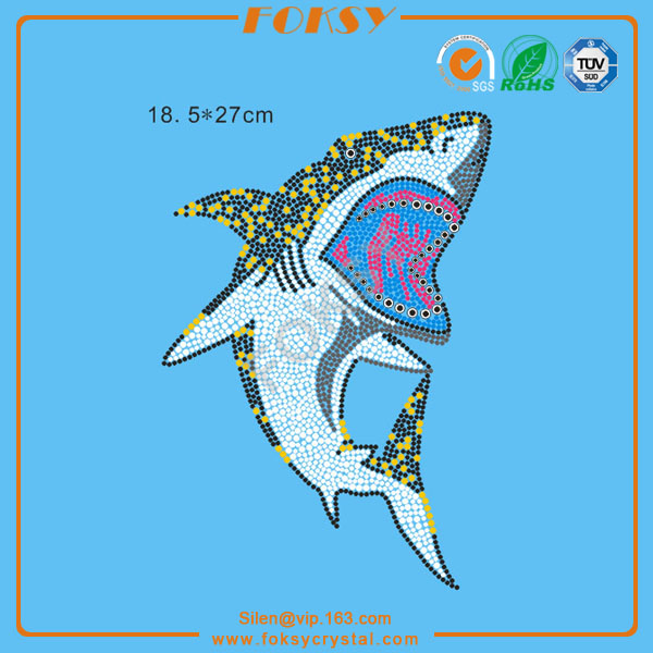 0300003775 Shark Pattern Iron On Rhinestone Appliques Clothes Accessories