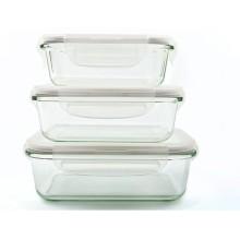 Набор прямоугольных воздухонепроницаемых боросиликатных стеклянных пищевых контейнеров