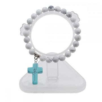 Natural Howlite Chakra Gemstone 8MM Round Beads Charms Bracelet with Turquoise Cross