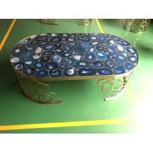 mesa auxiliar de piedra semipreciosa de ágata azul
