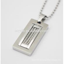 Refresque el collar pendiente del encanto del colgante del rectángulo casual / deportivo único de plata con el alambre de acero
