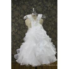 Nova chegada adorável fita flor pérola decorações casamento flor menina vestido