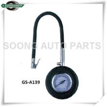 Clip-on Chuck Dial Tipo Medidor de Pneu, corpo de metal com mangueira flexível para caminhões pesados