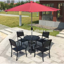 Garden metal frame chair and round table plastic wood dining sets