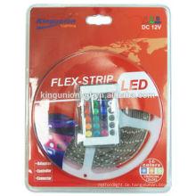 LED-Streifen-Licht-Kit und LED-Streifen-Licht-Blister-Paket mit Controller und Remote