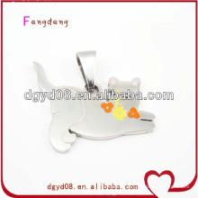 Colar de pingente de gato de aço inoxidável bonito