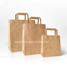 Прочная сумка с крафт-бумагой для покупок с ручкой с откидной крышкой