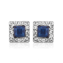 Fashion Square Earring Platinum Blue Zircon Jewelry Elegant Design Jewelry