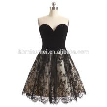 2017 nouvelle arrivée robe de soirée des femmes hors épaule courte conception motifs noir et blanc de robe de soirée en dentelle pour le mariage et la fête