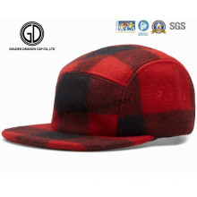 Great 5 Panel Checked Red & Black Wool Camper Strapback Cap
