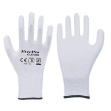 13 Gauge Polyester Liner Work Gloves Polyurethane Coating for Gardening Electronics Industry