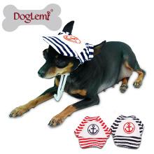 Sailor Mode Chien Pet Chien Chat Coton Chapeau Sports Baseball Stripe Cap avec des trous d'oreille