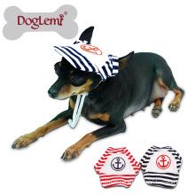 Sailor Fashion Dog Pet Dog Cat Cotton Hat Sports Baseball Stripe Cap with Ear Holes