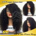 Китайские Виргинские человеческих волос glueless кружева передние парики kinky вьющиеся парик для чернокожих женщин