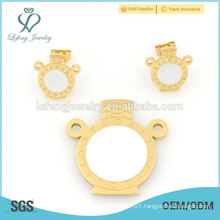 Fashion stainless steel gold locket & earring jewelry set designs