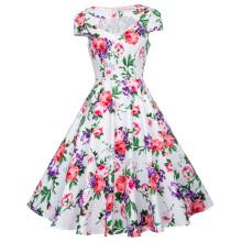 Belle Poque Hollowed Short Sleeve Floral Print Vintage Style Cotton Dress 50s BP000008-11
