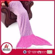 Preço razoável super macio flanela fleece Mermaid Tail blanket