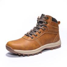Botas masculinas de couro impermeável para tornozelo
