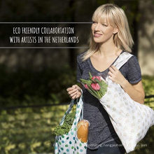 Promotional Extra Large Eco Friendly Polyester Reusable Foldable Shopping Bag Folded Grocery Carry Bag