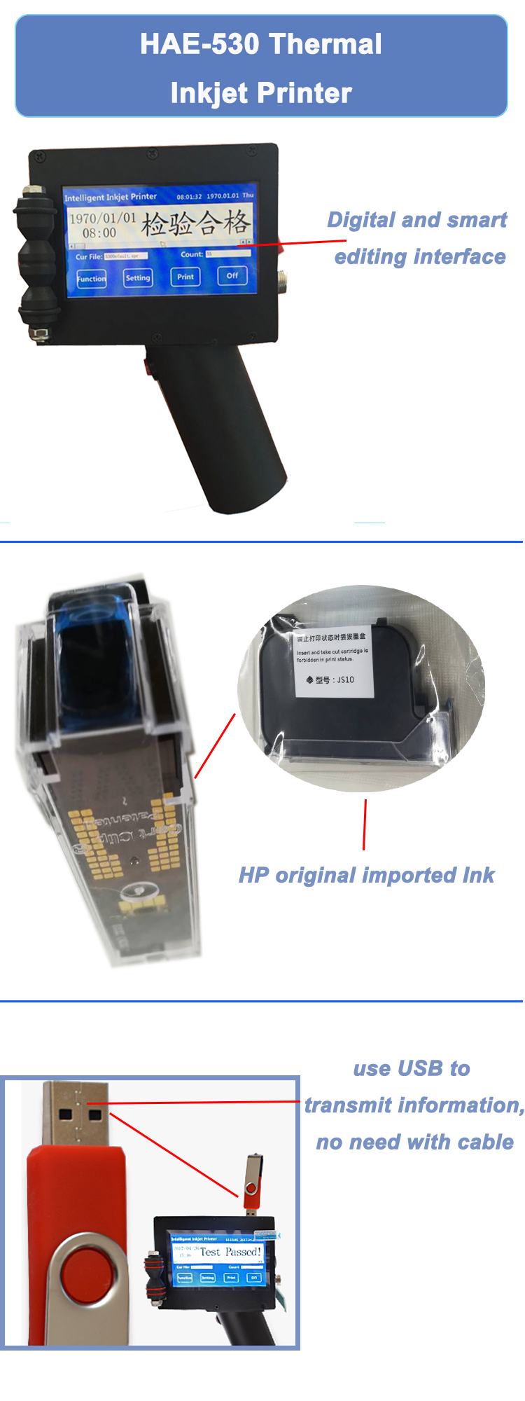 HAE-530 Black Jet Ink Inkjet Printer