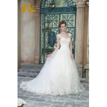 ED Bridal Exquisite Cap Sleeve Lace Applqiues Beads Floor Length A-Line Wedding Dresses