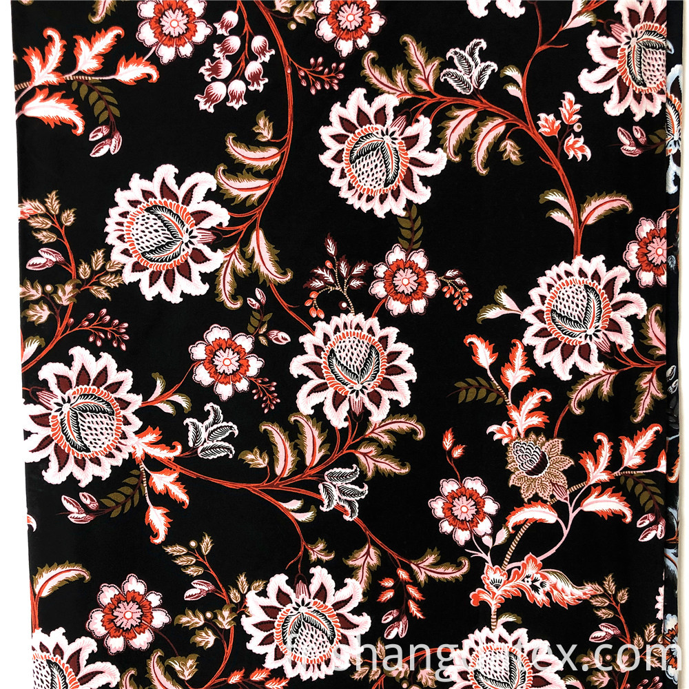 Rayon Printed With Poppy Flower Design