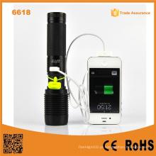 6618 Poder Xml T6 USB LED Lanterna LED Power Bank