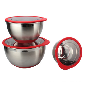 Stainless Steel deep Bowl Set With Plastic Lids
