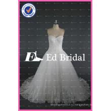 ЭД bridal вышитый бисером кружева аппликация милая кружева-up бальное платье Белый свадебные платья Китай