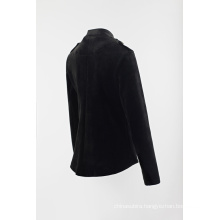 Black combined button blazer with span