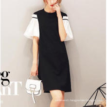 Summer Pretty Stitching Black and White Sleeves Women′s Dress