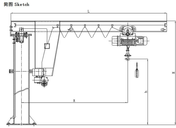 Sketch Of Post Jib Crane