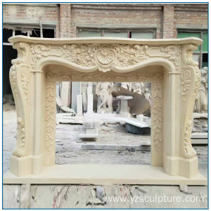 Large Size Yellow Marble Fireplace Mantel For Home