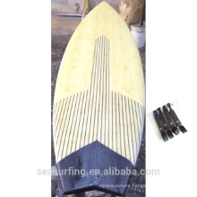Newly season used sup board real bamboo surfboard carbon rail special design ~~!