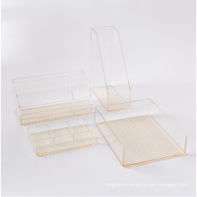 Gold Striped Office Supplier Accessories Acrylic Desk Stationery Organizers Set