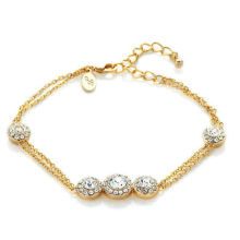 Moda jóias banhado a ouro pulseira pulseira de cristal charme para as mulheres