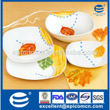 Leaves decor high quality daily use 19pcs ceramic dinner plates with salad bowls                                                                         Quality Choice