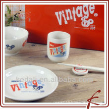 Plateau et bol en céramique à la porcelaine en bon marché en Chine