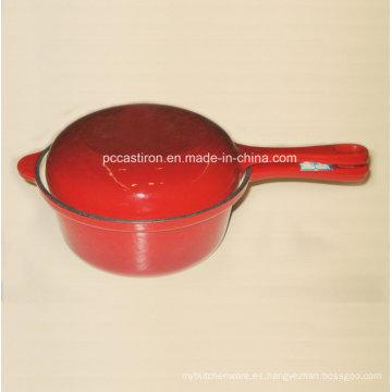 Cacerola de hierro fundido de esmalte con tapa de doble uso como Frypan