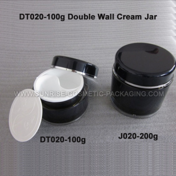 100 мл круглый черный двойной стены крем опарник