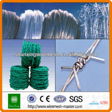 green PVC-coated barbed wire
