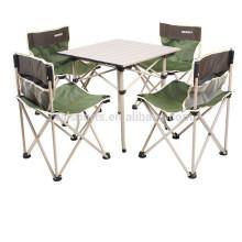 Mesa de jantar dobrável projeta Camping mesa dobrável de alumínio anexado cadeira