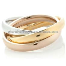 Majestoso aço inoxidável desenhos exclusivos tricolor rolamento anel polido 3 rodada jóia círculos