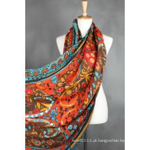 Senhora moda algodão viscose poliéster lenço de seda impressa (yky1022)