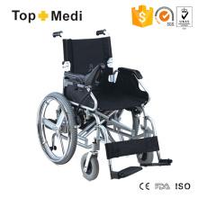 Cadeira de rodas elétrica dobrável com estrutura de aço leve e alça rebatível