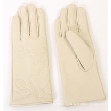 Леди мода вышивка кожа овчины Водительские перчатки (YKY5166)