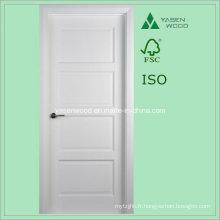 Porte en bois intérieure en bois de couleur blanche